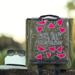 Unisex So Sweet Print Transparent Flap Khaki Backpack