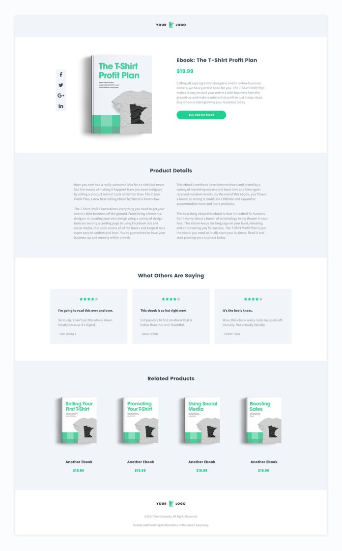 ecommerce sales page Leadpages template