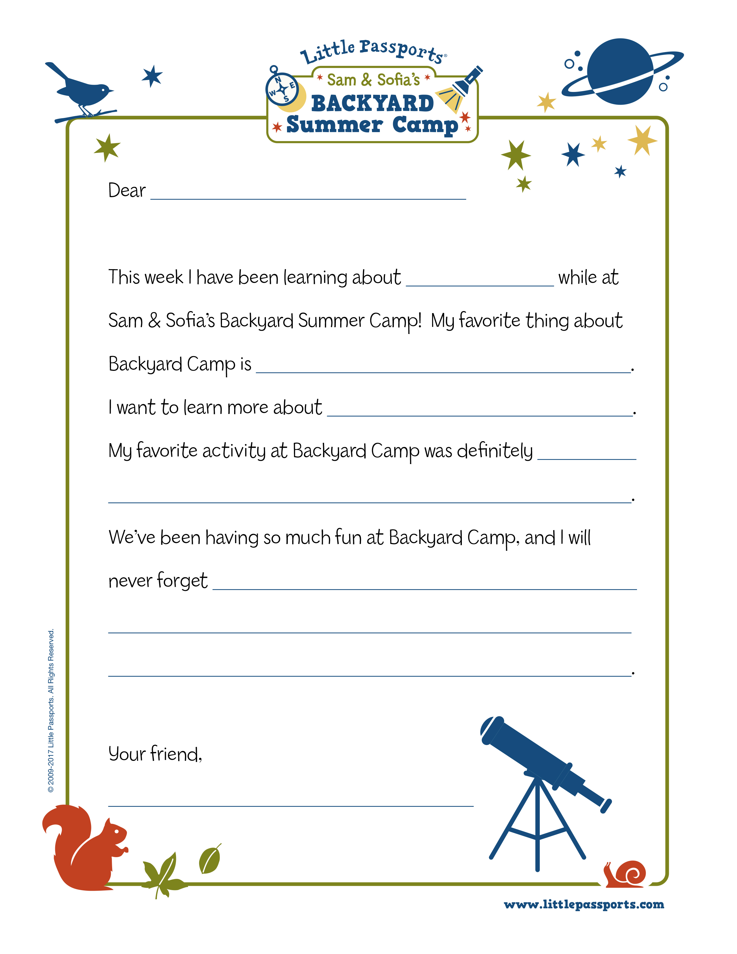 Letters Home From Camp Printable