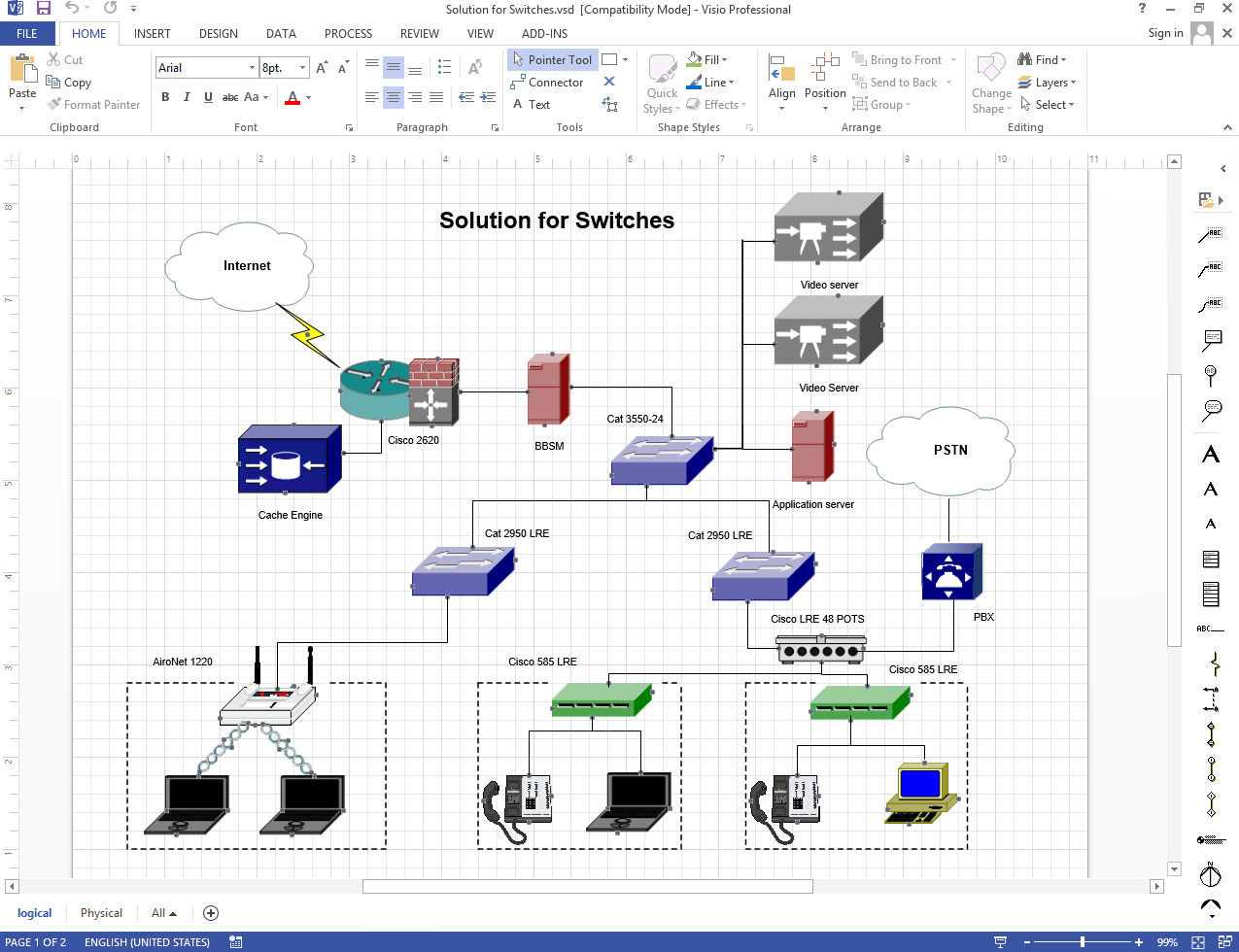 hight resolution of diagram made in netzoom visio stencils displaying networked switcher solution