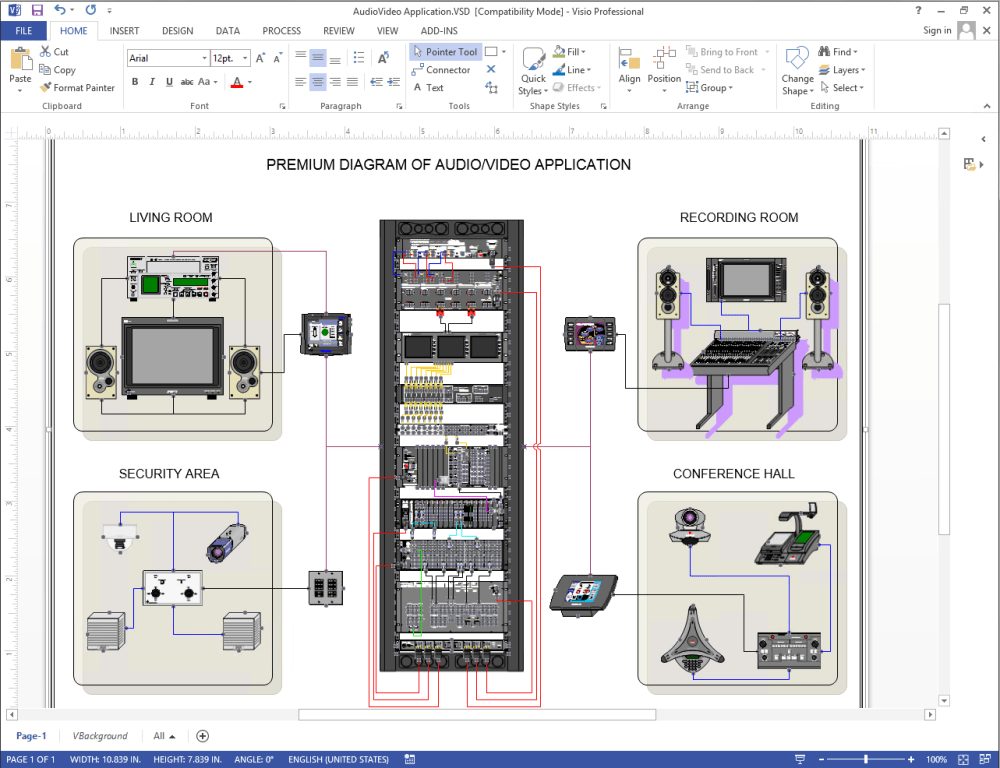 medium resolution of diagram of audio video network using netzoom visio stencils