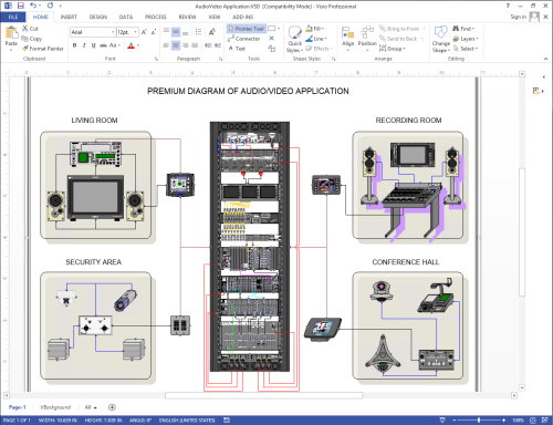 small resolution of diagram of audio video network using netzoom visio stencils