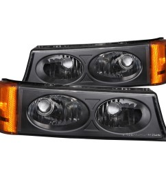 details about fits 03 06 chevrolet silverado hd parking signal lights w clear lens black [ 1500 x 1500 Pixel ]