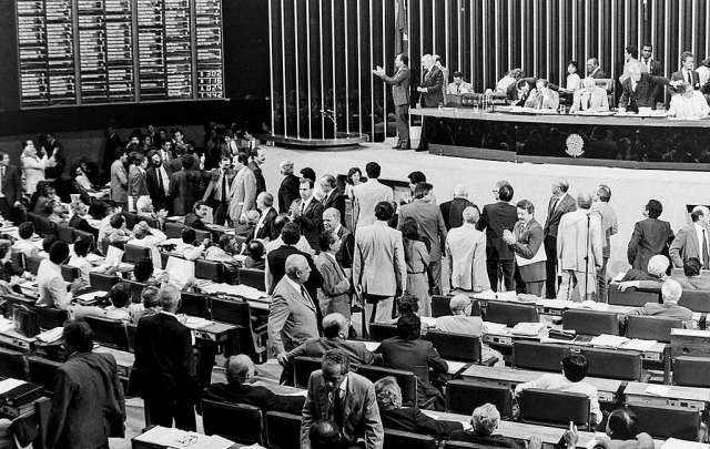 Sessão da assembleia constituinte que aprovou o capítulo de meio ambiente da Constituição Federal