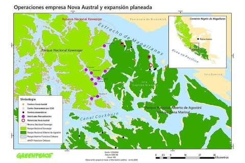 Cartografía Operaciones Nova Austral en Parque Nacional Alberto de Agostini y relocalización en Parque y Reserva Nacional Kawésqar, centros con denuncias y problemas ambientales.