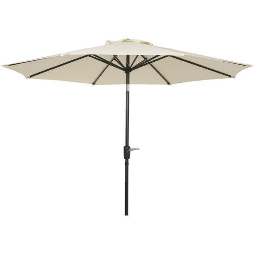 outdoor expressions 9 ft aluminum tilt crank cream patio umbrella