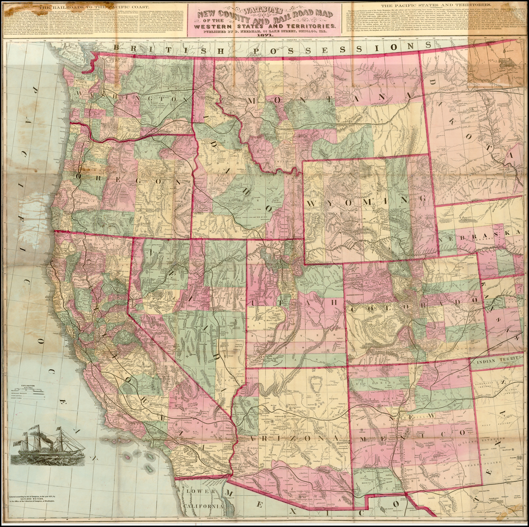 Watsons New County And Rail Road Map Of The Western States