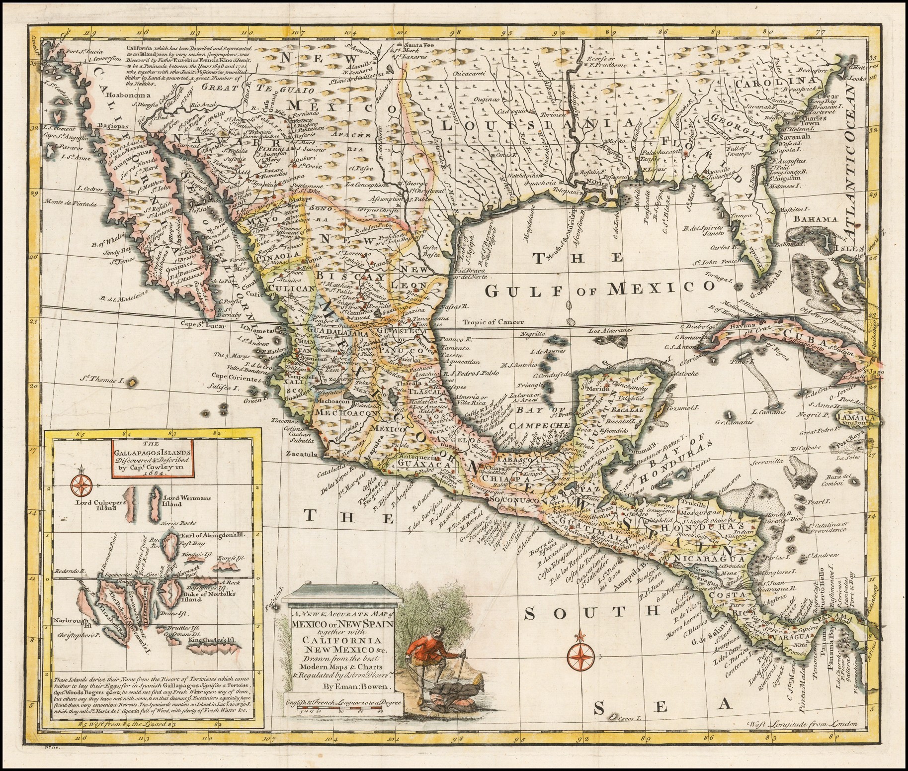 A New & Accurate Map of Mexico or New Spain together with California New Mexico &c. [Inset map of the Galapagos Islands] - Barry Lawrence Ruderman ...