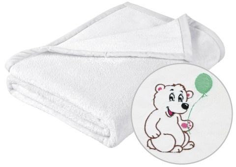 Dětská deka s výšivkou bílá