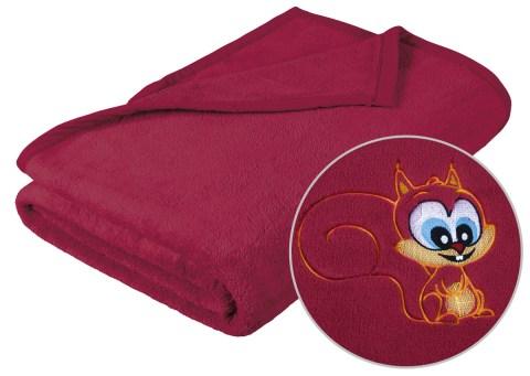Dětská deka s výšivkou vínová