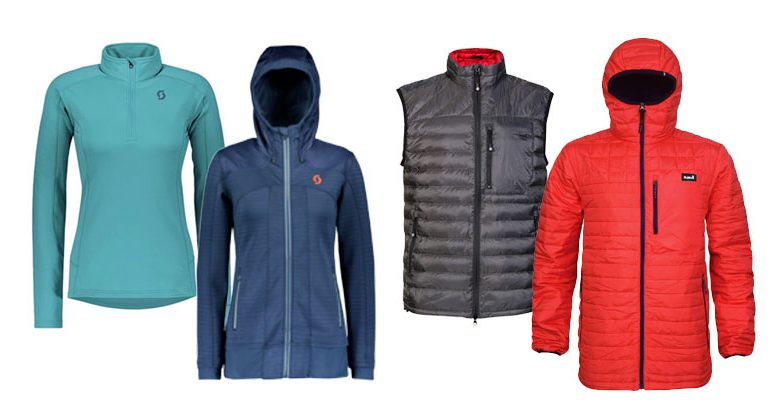 Assorted skiing mid layers by Planks Clothing and Scott