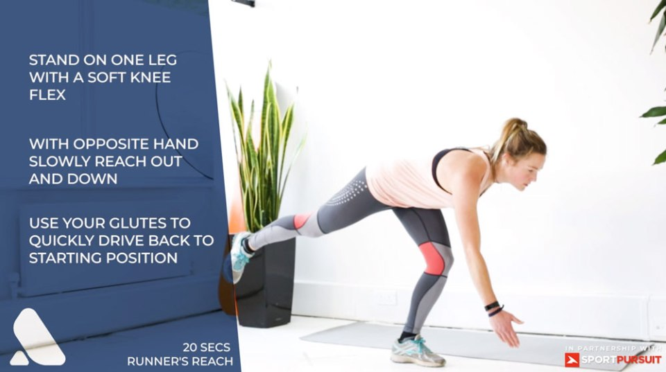 ski exercise for balance and proprioceptions woman on one leg doing runners reach