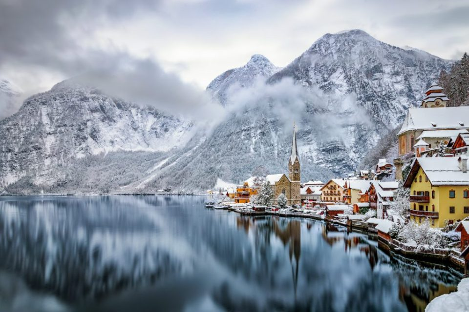 View of the snow covered village of Hallstatt in the Austrian Alps during christmas time