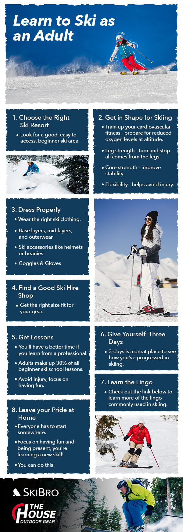 Learn to ski as an adult infographic
