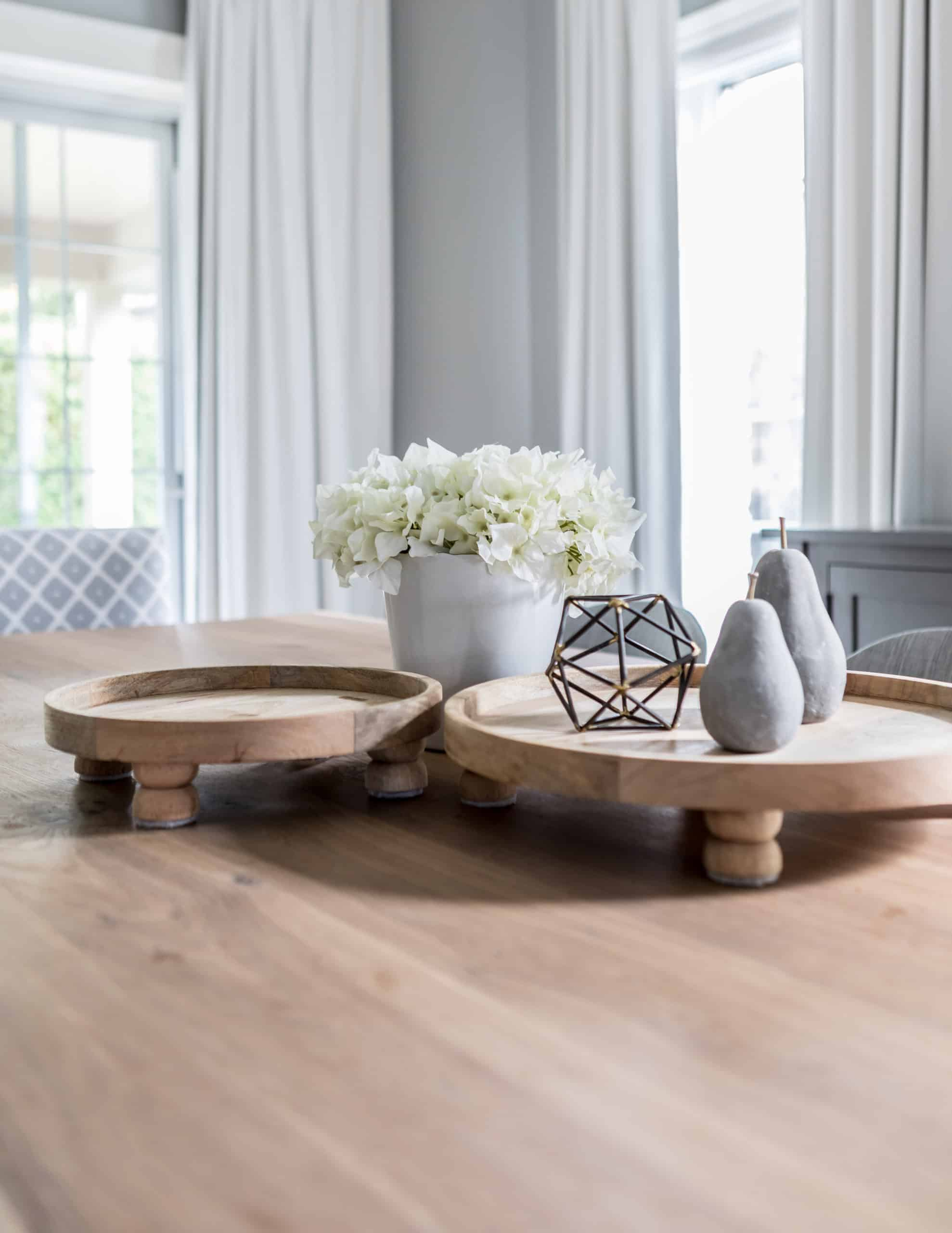 Decorations on a wooden coffee table