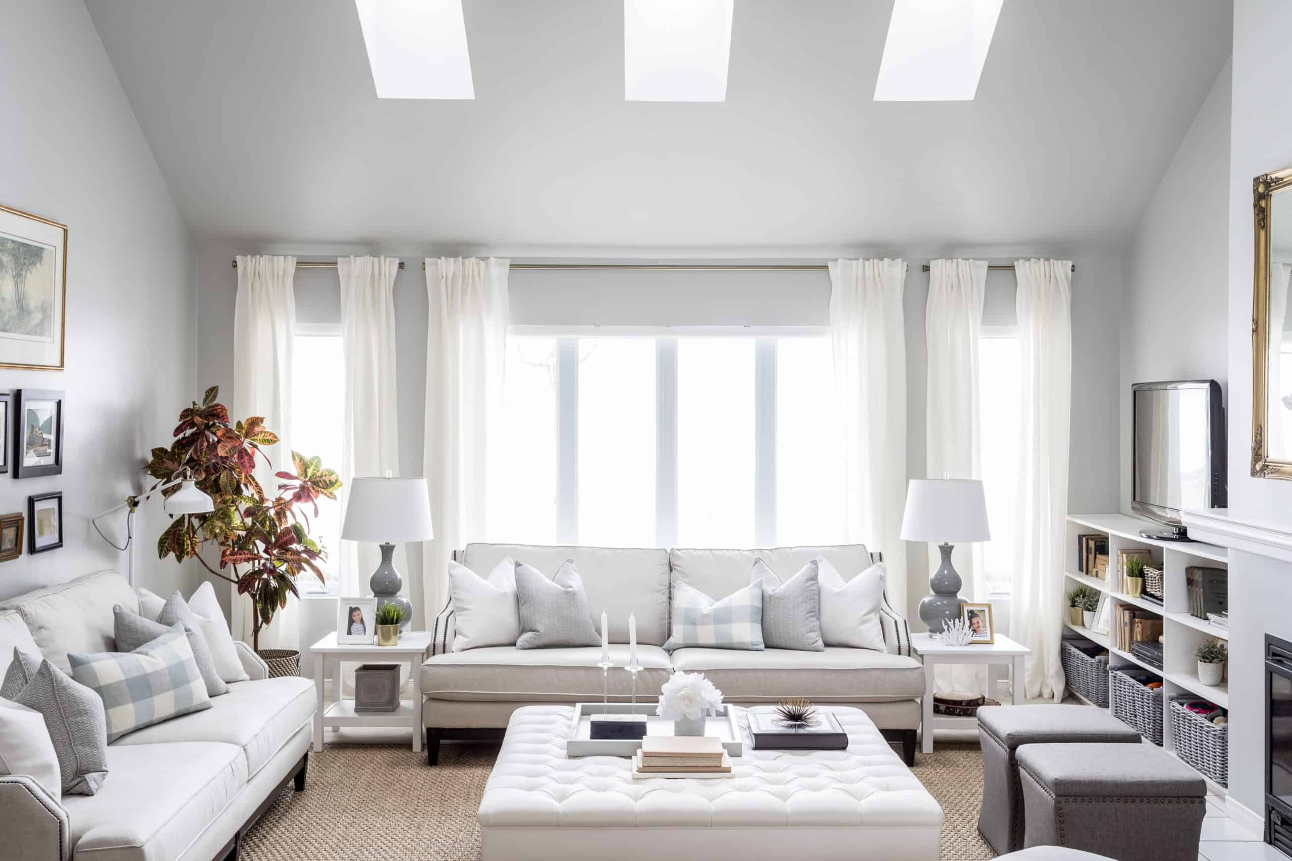 White couch against a bright window