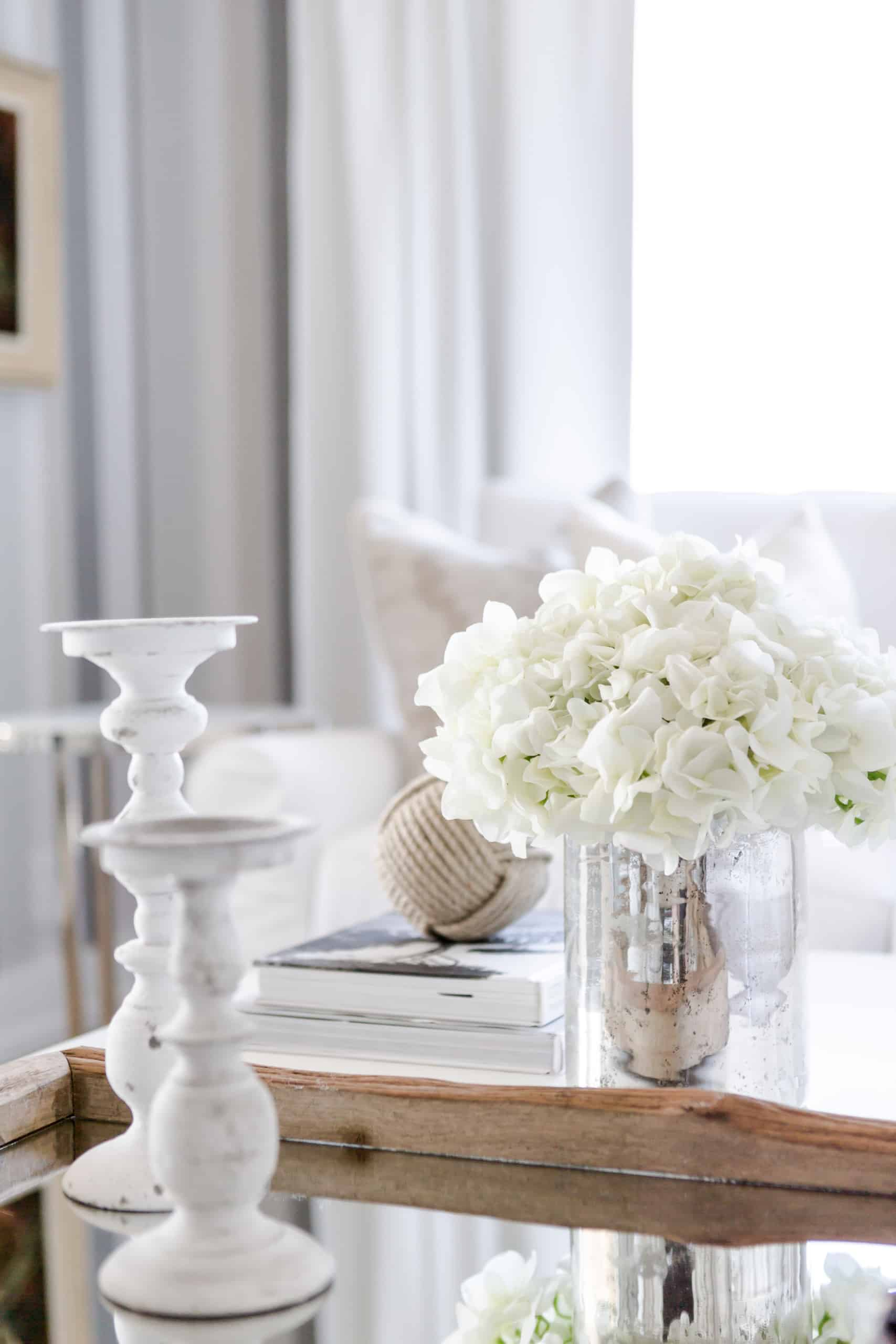 Beautiful white flowers on a marble table