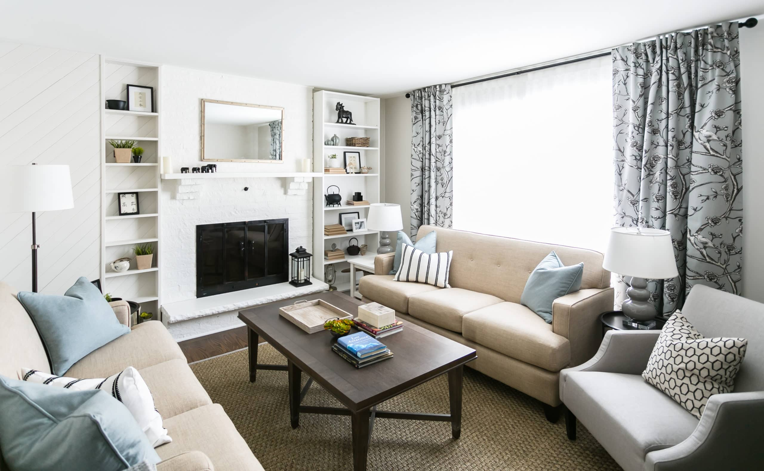 Cozy living room with a white fireplace
