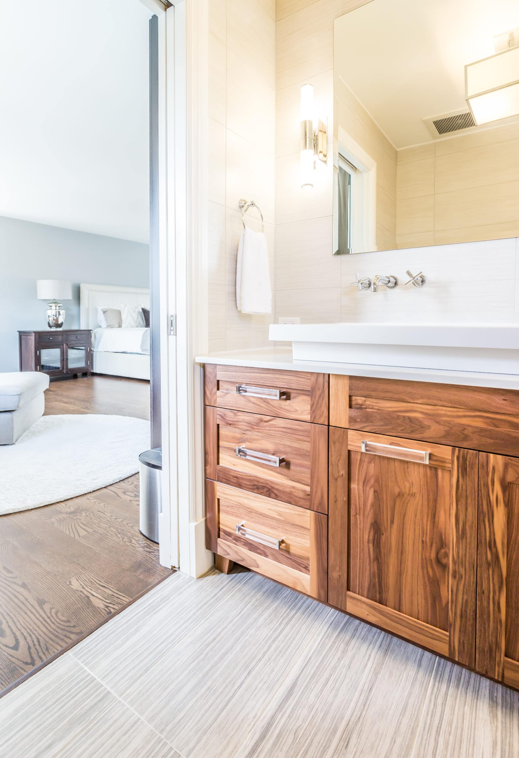 Clean bathroom with a focus on the sink