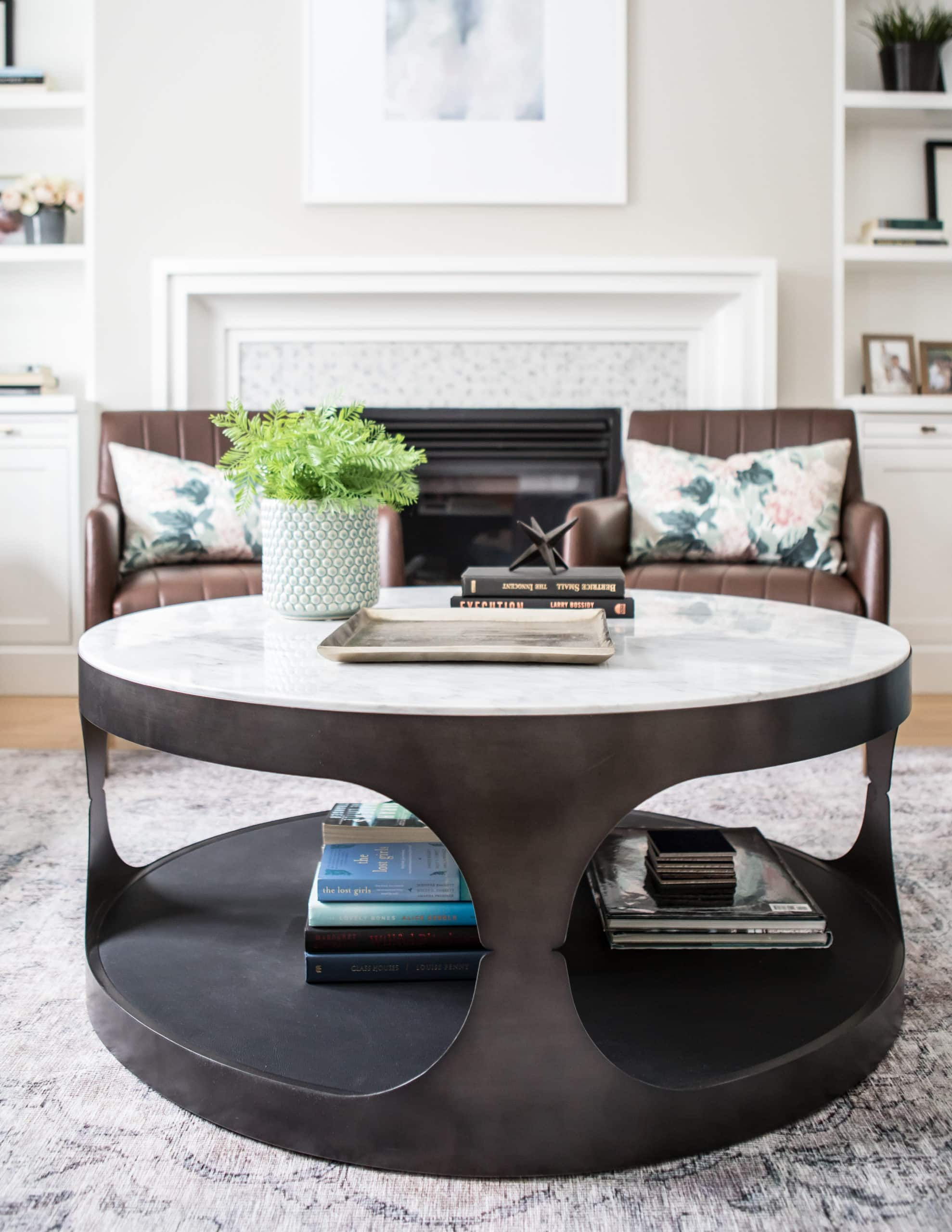 Modern, round table within a living room