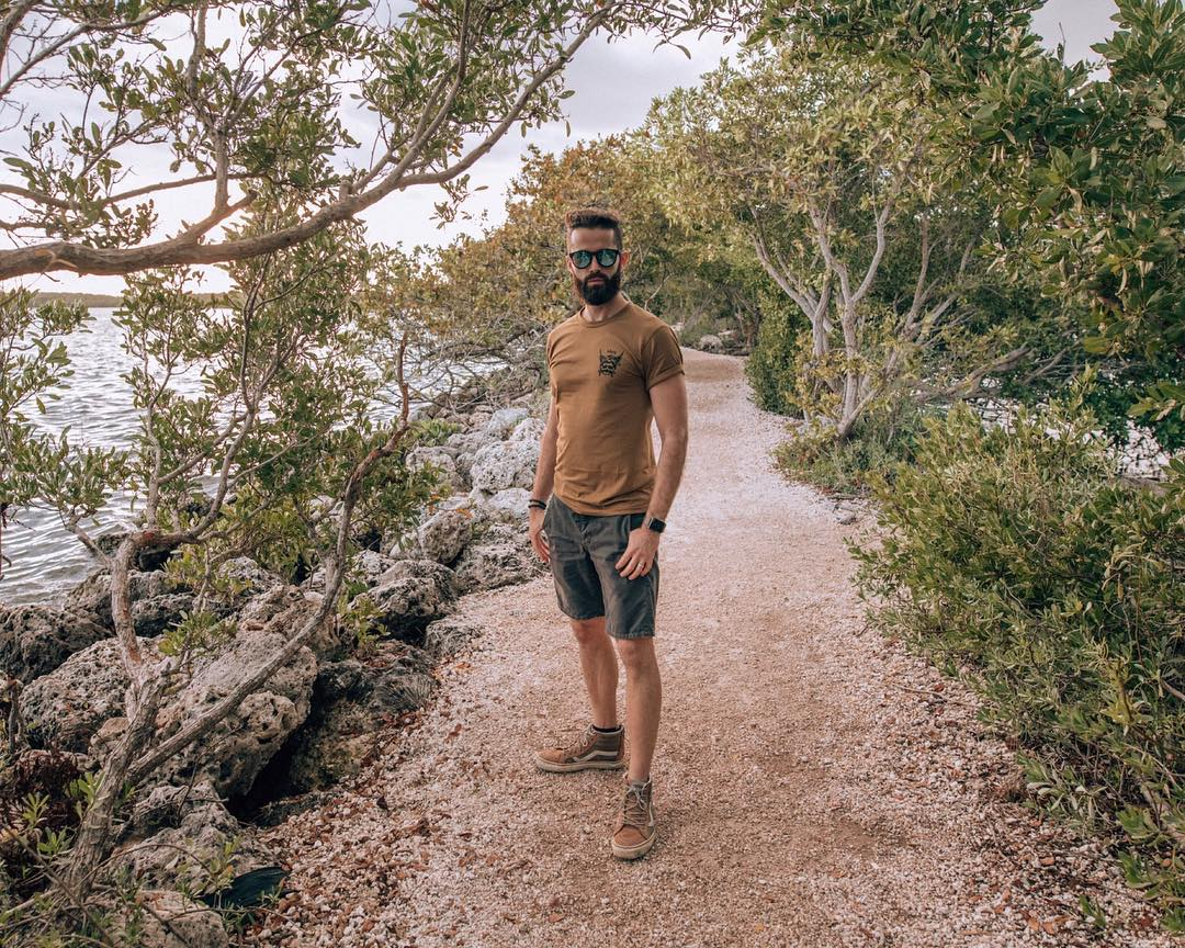 Michael Checkers walking in Biscayne National Park Miami