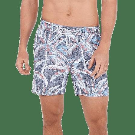 Palm Print Drawstring Swim Trunks