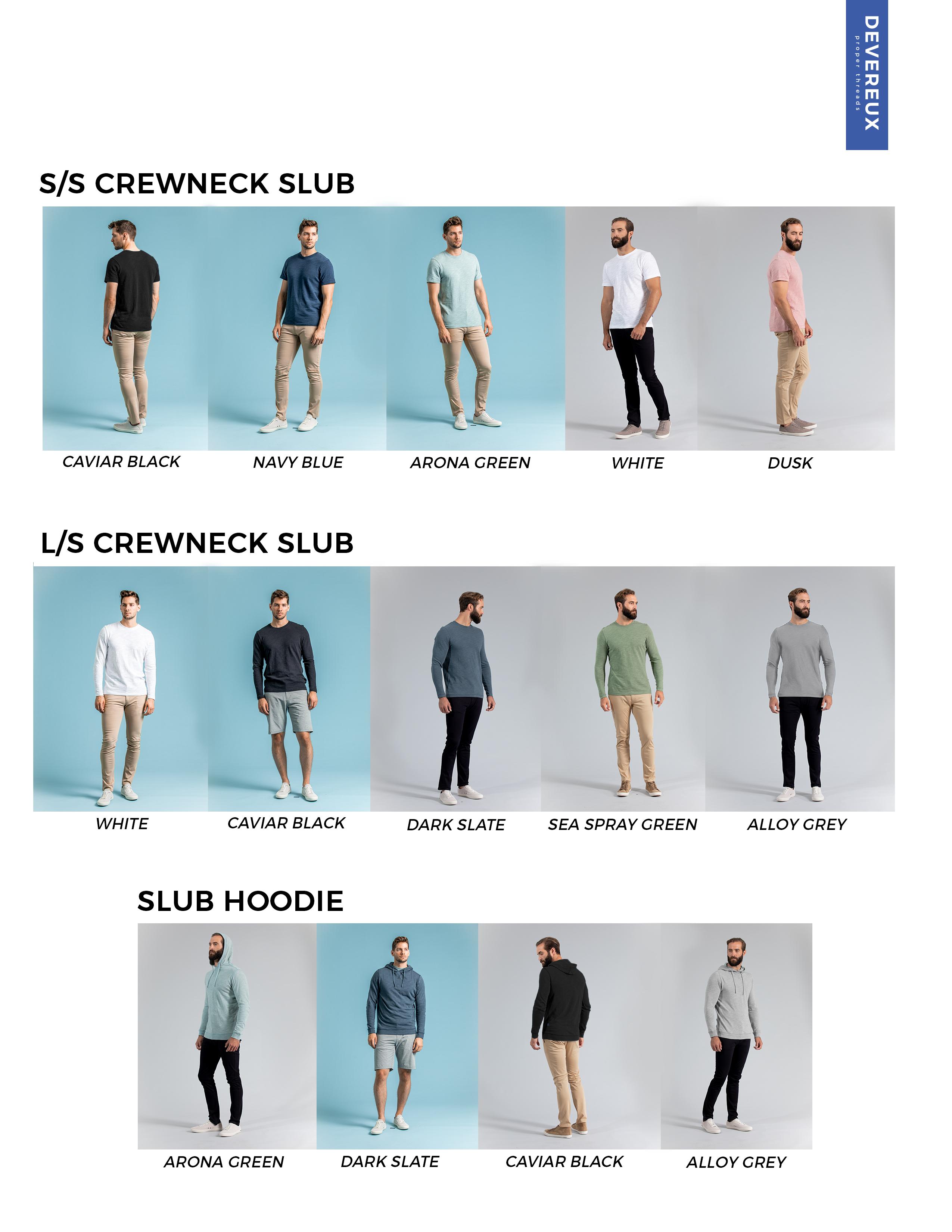 Deveruex Proper Threads slub shirt colors