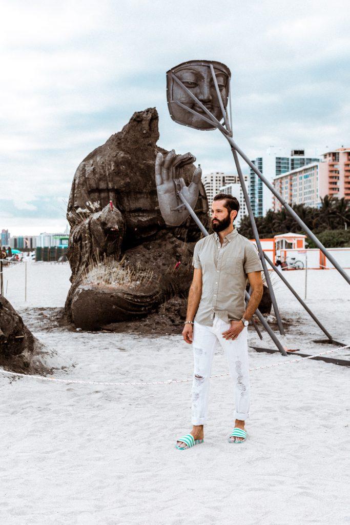 Michael Checkers Miami Street Style Blogger at Feana Hotel Art Week Buddha