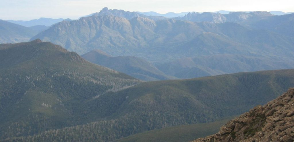 Looking into the quartzite mountains of SW Tasmania, from Mt. Picton