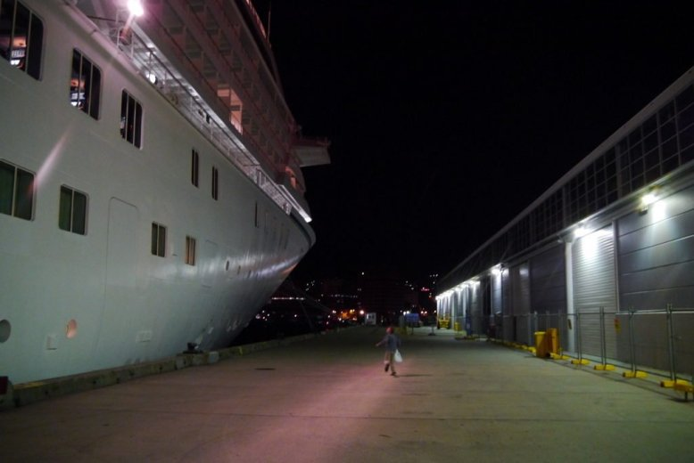 A visitor leaves the opulence and luxury of the Crystal Symphony behind for the solid land of Tasmania