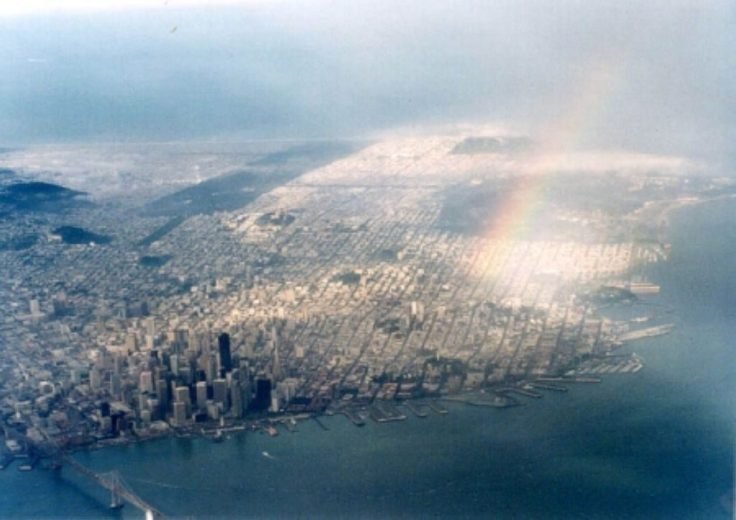 An aerial view of San Francisco, looking westwards in the morning