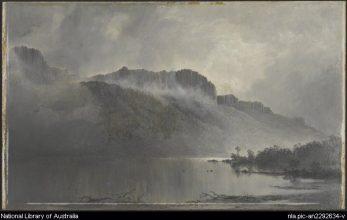 Mt. Olympus, Lake St. Clair, Tasmania -- by William Piguenit - Natl Lib of Aus