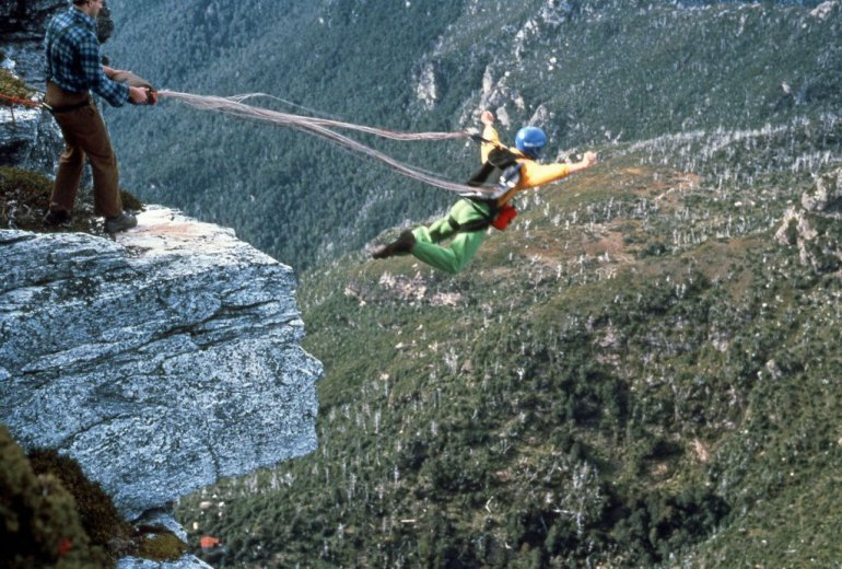 BASE Jump Frenchmans 11_Chris Launching_April1989_By GeorgeCreecy