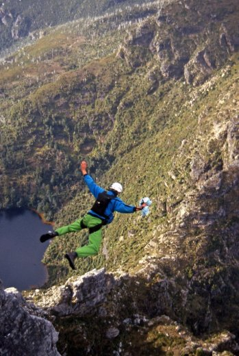 BASE Jump Frenchmans 4_Simon In Freefall_July1988 by Chris Sharples