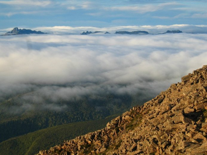 Morning view from Mt Picton towards the Eastern Arthurs - by Angus Munro