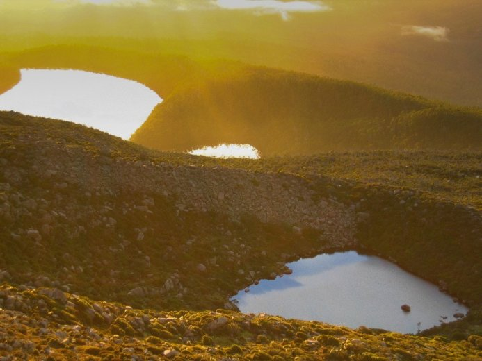 Summit sunrise lakes on Mt Picton - by Angus Munro