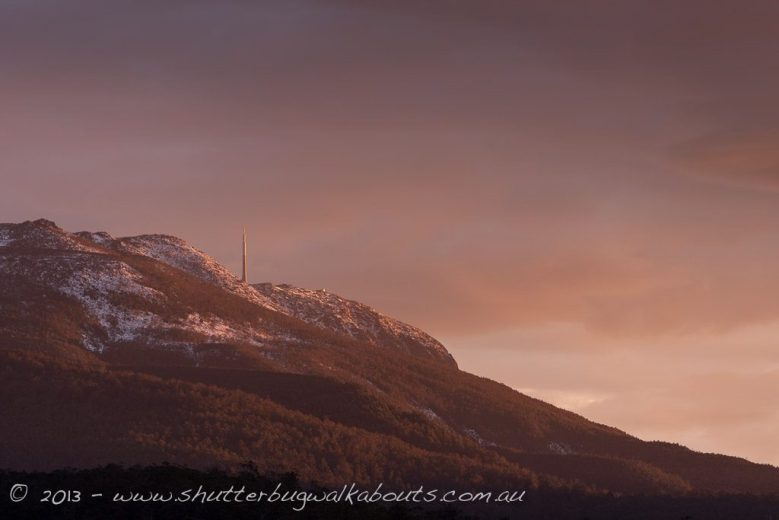 Sunrise on snow covered-Mt Wellington- by Shutterbug Walkabouts