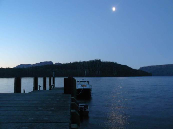 Moon fron Cynthia Bay jetty - by Warwick Sprawson