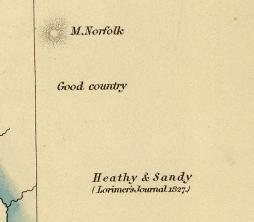 Detail from Van Diemens Land 1834 by J Arrowsmith - courtesy David Rumsey Map Collection - 012