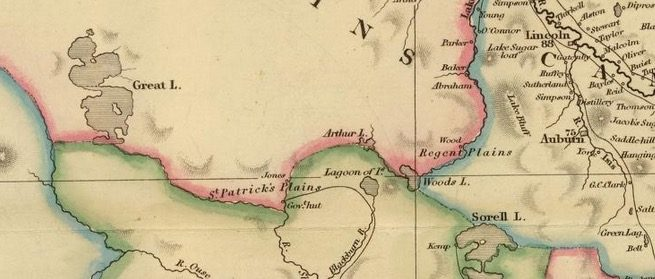 Detail from Van Diemens Land 1834 by J Arrowsmith - courtesy David Rumsey Map Collection - 025