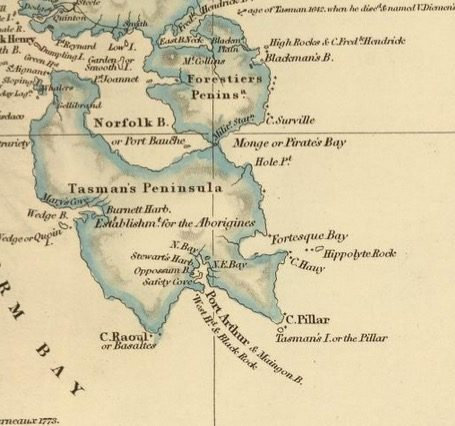 Detail from Van Diemens Land 1834 by J Arrowsmith - courtesy David Rumsey Map Collection - 031