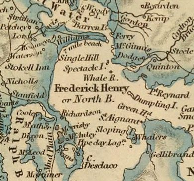Detail from Van Diemens Land 1834 by J Arrowsmith - courtesy David Rumsey Map Collection - 032