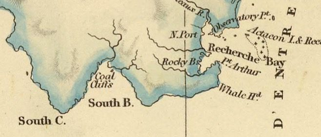 Detail from Van Diemens Land 1834 by J Arrowsmith - courtesy David Rumsey Map Collection - 035