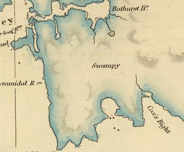 Detail from Van Diemens Land 1834 by J Arrowsmith - courtesy David Rumsey Map Collection - 036