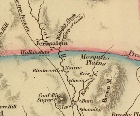 Detail from Van Diemens Land 1834 by J Arrowsmith - courtesy David Rumsey Map Collection - 038