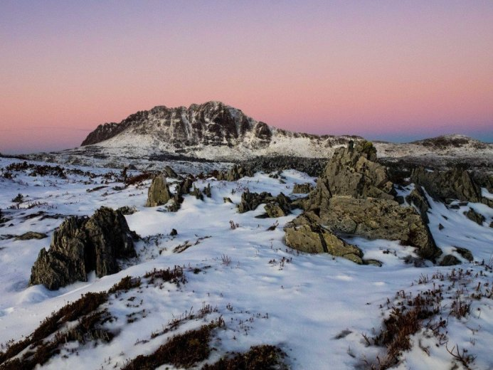 This unusual view of Cradle Mountain was attained by walking out to Little Plateau closely after sunset.- by Andy Szollosi