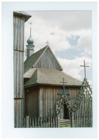 Church from Matczyn, Poland, showing extensive use of wood- by Chrystine Klimek