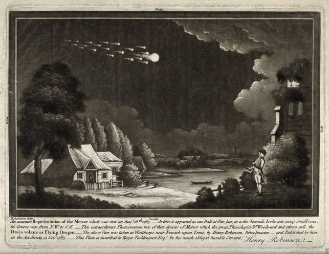 V0024753 Astronomy: a meteor shower in the night sky. Mezzotint.