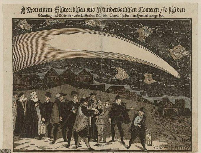 Comet of 1577, depicted by Georgium Jacobum von Datschitz, 1577 – - via Public Domain Review