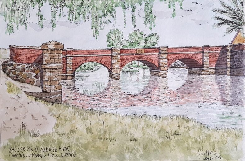 Bridge on Elizabeth River, Cambell Town 1836 - Drawing by Horst Tiefholz